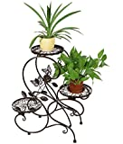 """HLC 3-tier Classic Plant Stand with Modern """"S"""" Design (Bronze)"""