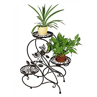 HLC 3-tier Classic Plant Stand with Modern  S  Design (Bronze)