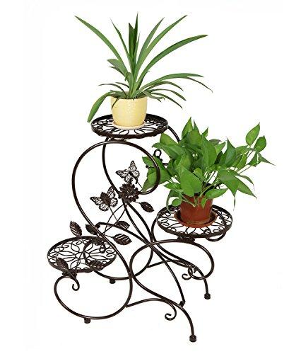 HLC 3 Töpf Metall Pflanzer Blumenständer Blumentreppe,S-förmig Bronze