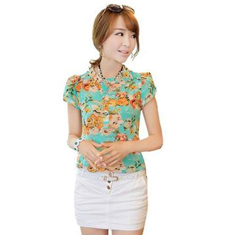 Zeagoo Mode Frauen Kurzarm Chiffon-Shirt Bequem Blumendruck Tops Bluse
