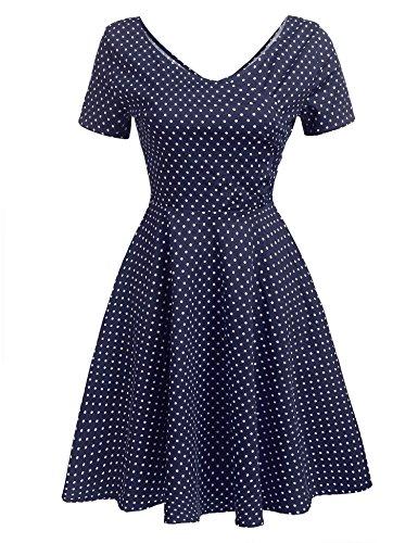 Beyove Women's 1950'S Polka Dot Retro Short Sleeve Pinic Party Swing Dress -