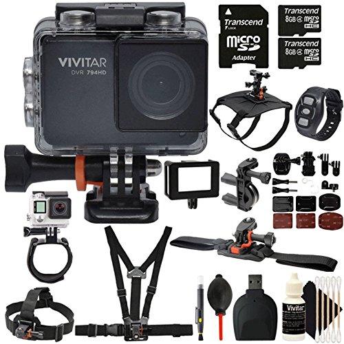 Vivitar DVR794HD Wi-Fi Waterproof Action Camcorder Black wit