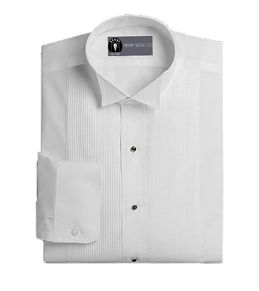 Henry Segal Mens Tuxedo Shirt Poly Cotton 1//8 Inch Wing Collar White