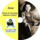 Iowa History & Genealogy- 120 Books on DVD Ancestry, Records, Family