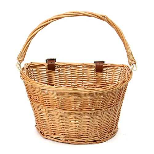Trendy Style Brown Front Wicker Bicycle Bike Fruit Basket + Straps 35x26x22CM