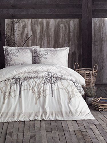 Price comparison product image Duvet Quilt Cover Set Single Twin/Double Queen Size Bed Quilt Cover Set - 100% Cotton - Multi Colour Printed 4 Pieces with Fitted Sheet (Tree Beige, Twin)