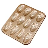 Forvel 12-Cup Metallic Madeleine Commercy Pan Mold French Shell Butter Cake Cookies Baking Tin (Golden)