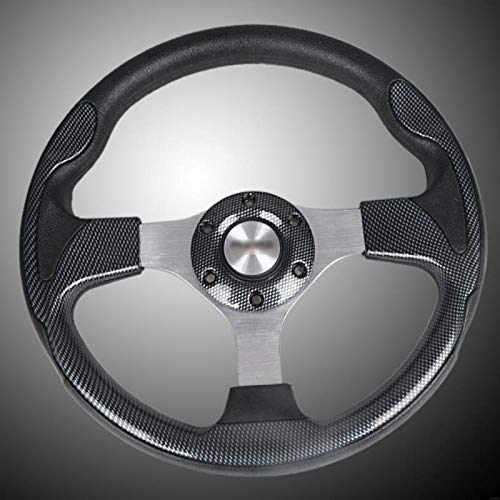 (Topsame Car Styling 315mm/12 inch Sport Racing Steering Wheel PU Leather with Horn Button Carbon Fiber Style Look)