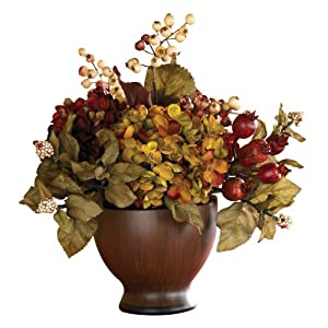 Nearly Natural 4680 Autumn Hydrangea with Round Vase, Multi Color 93