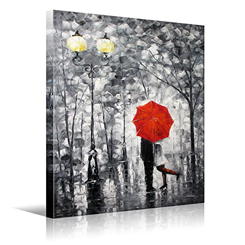 Lovers Kiss Under The Red Umbrella On The Street Lamp HD Picture Print Canvas Wall Art Modern Giclee Artwork Home Decor Stretched And Framed Ready To Hang 12x16 inch(30x40cm) 1pc