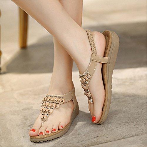 Sandalias de playa vacaciones de verano femenina calzado de playa diamond abalorios beads toe sandalias de deslizamiento plana Albaricoque