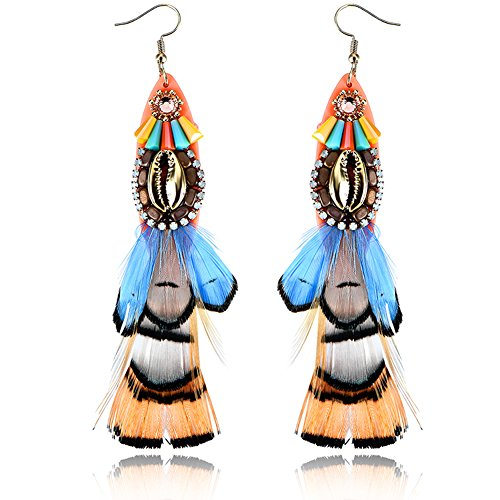 Multicolor Peacock Handmade Natural Feather Dangling Earrings Maid Tassel Hook Stud Earrings Fashion Jewelry for Fairy|EVERRICH