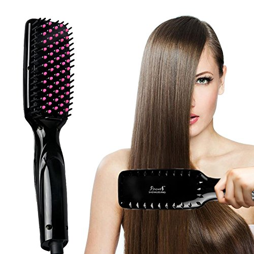 Hair Straightener,Zealite Professional Detangling Hair Brush Hair Styling Comb Digital Anti Static Anti-Scald Ceramic Heating Iron Pink Hair Massage Straightening Irons, Black by Zealite