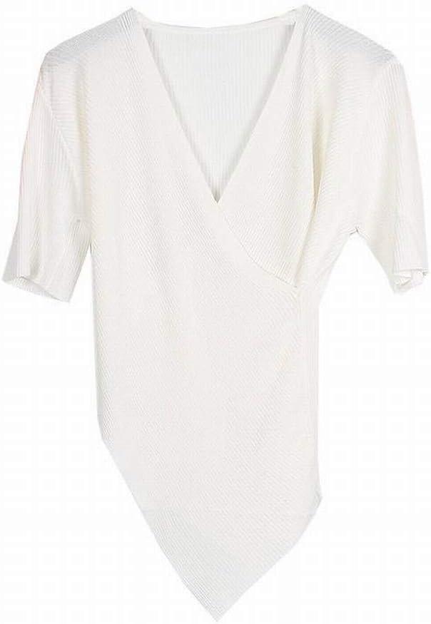 Katylen Jersey de Manga Corta con Cuello en Pico Cruzado, Camisa de Base de Dobladillo Irregular de Autocultivo Fino para Mujer, Blanco, l