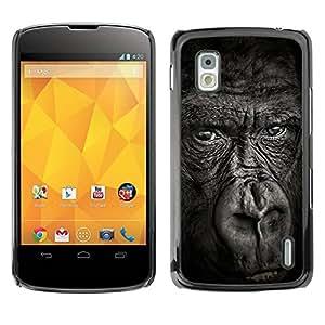 Paccase / SLIM PC / Aliminium Casa Carcasa Funda Case Cover para - big ape gorilla black nature animal - LG Google Nexus 4 E960