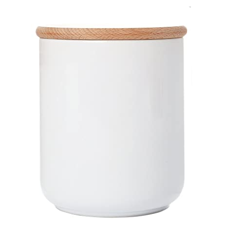 White Ceramic Canister Jar Container For Food Storage With Wood Lid Kitchen  Canister,Sugar Container