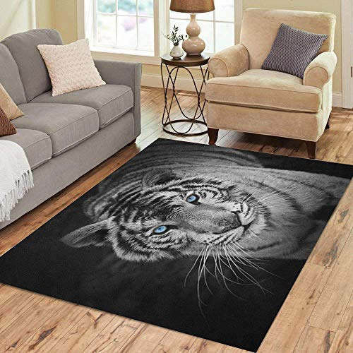 Semtomn Area Rug 3' X 5' Black White Tiger Panther Animal Eye Snow Cat Big Home Decor Collection Floor Rugs Carpet for Living Room Bedroom Dining Room (Tiger Head Rug)