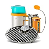 BioLite CampStove 1 Bundle- Includes Wood-Burning CampStove 1, USB FlexLight, Portable Grill and KettlePot Attachments, Generates Electricity for USB Charging, Silver/Yellow/Aqua (CXA1001)