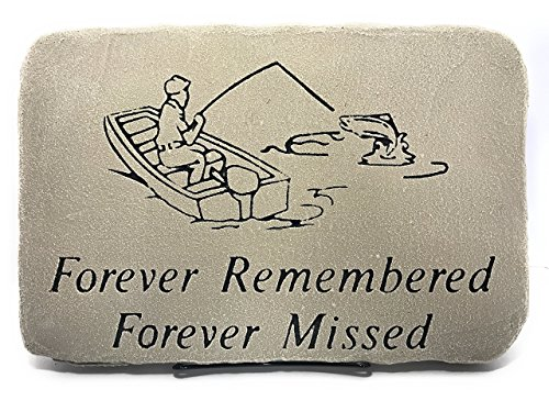 Sympathy Plaques Fisherman Forever Remembered – Forever Missed;Memorial Stone10″x15″ Shale; Display Stand Included