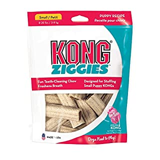 KONG - Ziggiesª Puppy - Teeth Cleaning Dog Treats - Puppy Recipe - Small (Best used with KONG Puppy Rubber Toys)