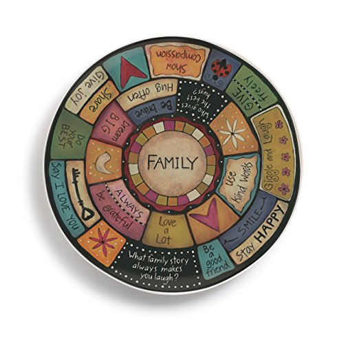 Family Values Circular Multicolored 13 x 13 Durable Melamine Round Platter