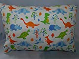 Dinosaurs, alligator, Woodland forest animals PILLOWCASE with pillow, Size 13''x 18'', throw pillow, neck or travel, bed, sofa, stroller, Toddlers. Kids, Hypoallergenic, washable. Ready to use.