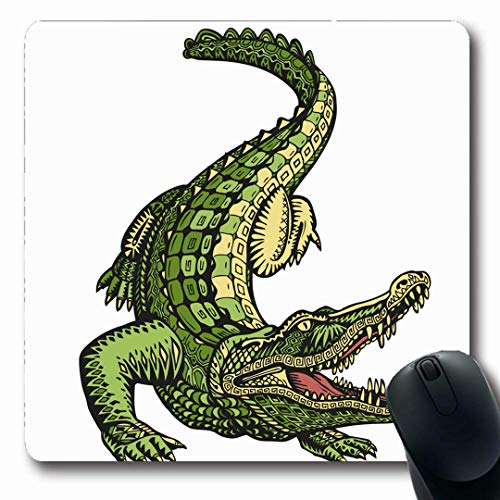 Ahawoso Mousepads White Green Gator Ethnic Ornamented Alligator Crocodile Retro Vintage Caiman Tribal American Beast Oblong Shape 7.9 x 9.5 Inches Non-Slip Gaming Mouse Pad Rubber Oblong Mat ()
