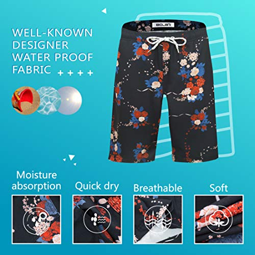 Mens Swim Trunks with Pockets Beach Swimwear Quick Dry Long Elastic Waistband Board Shorts Bathing Suits Holiday(BS12)-2XL Black