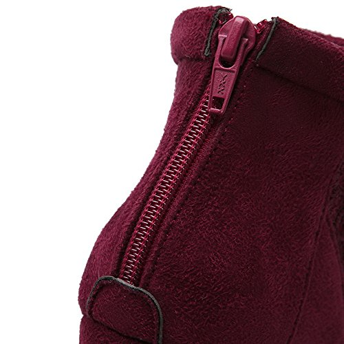 Closed Frosted Boots Round High Red Zipper AmoonyFashion Toe Women's Solid Heels Oqp4II