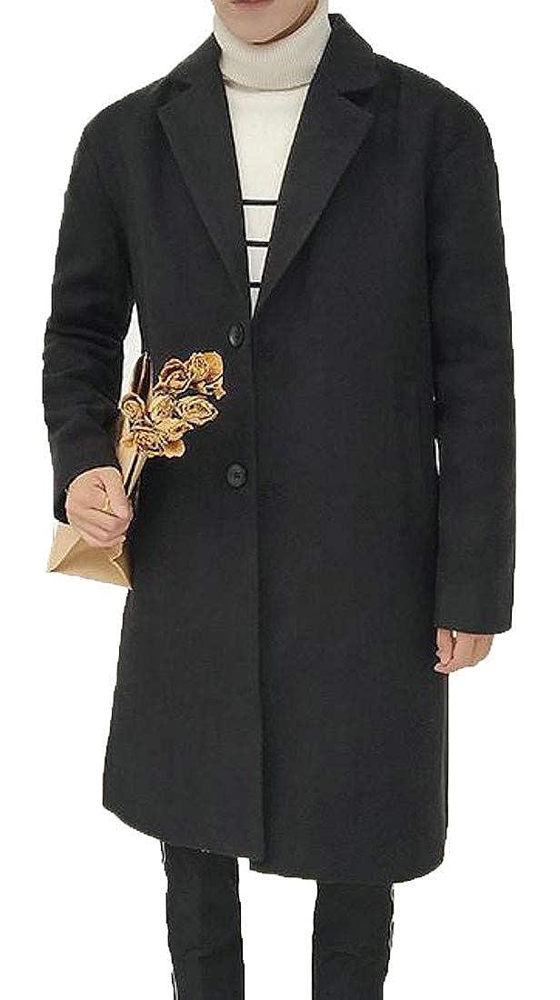 Sayhi Men's Woolen Trench Coat Autumn Winter Single Breasted Lapel Overcoat Pea Coat