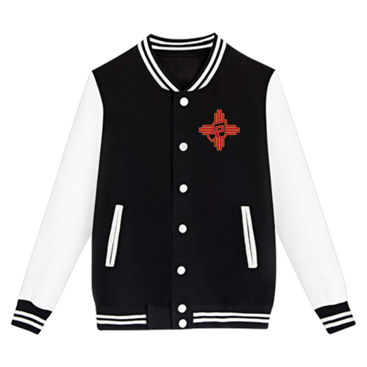 Tina TN New Mexico Spanish Music Teens Boys Girl Varsity Baseball Jacket Long Sleeve Sport Baseball Uniform Jacket Coat Sweater Black