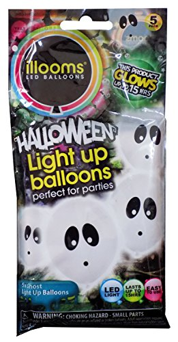 Halloween Ghost illoom LED Light Up Balloons - 5 Pack