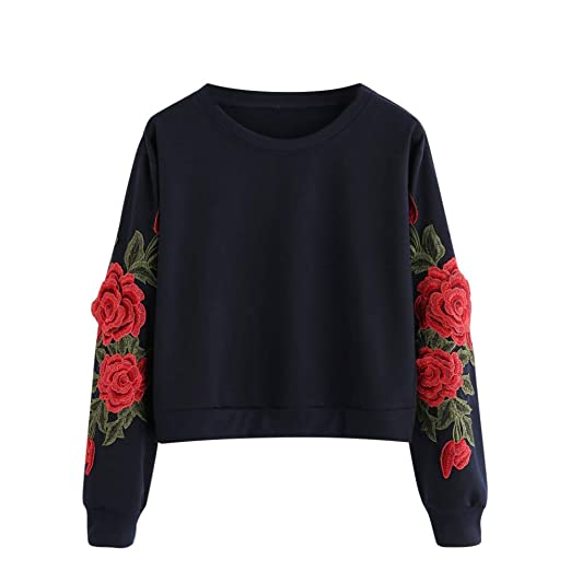 a8f9286c6dc Women Hoodie Pullover, Women's Roses Embroidery Stripe Long Sleeve  Sweatshirt