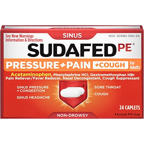 Sudafed PE Pressure + Pain + Cough Caplets, 24 Count