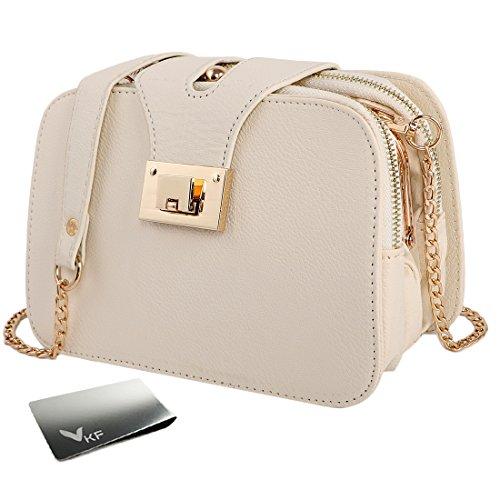 Women's Clutch Clip Beige Shoulder Leather Chain Faux Money Party kilofly Purse Bag Sd1wpqIS