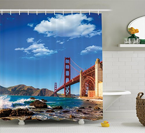 Ambesonne Apartment Decor Collection, San Francisco Golden Gate Bridge GGB Rocky Sea Waterscape Scenic Coastline Vacation Image, Polyester Fabric Bathroom Shower Curtain Set, 75 Inches Long, - Sc Beach On Broadway The