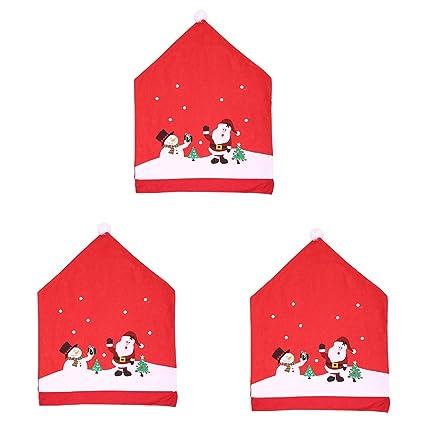 Gytech 3 Piezas de Fundas para sillas de Navidad, Festivos de Navidad, Papá Noel