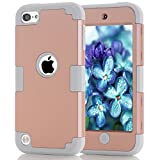 jelly ipod 5 case - iPod Touch 5 Case, iPod Touch 6 Case, Easytop 3 in 1 Hybrid Impact Protection Hard Plastic with Shock Absorbing Soft Silicone Bumper Inner Triple Layer Armor Full Body Cover Case (Rose Gold + Grey)