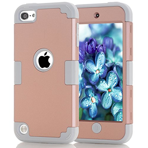 iPod Touch 5 Case, iPod Touch 6 Case, Easytop 3 in 1 Hybrid Impact Protection Hard Plastic with Shock Absorbing Soft Silicone Bumper Inner Triple Layer Armor Full Body Cover Case (Rose Gold + Grey)
