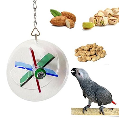 (LIANCHI Parrot Creative Foraging Systems Foraging Wheel Bird Intelligence Growth Cage Acrylic Box Toys (A))