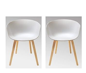 Meubletmoi - Juego de 2 sillones escandinava Blancos ...