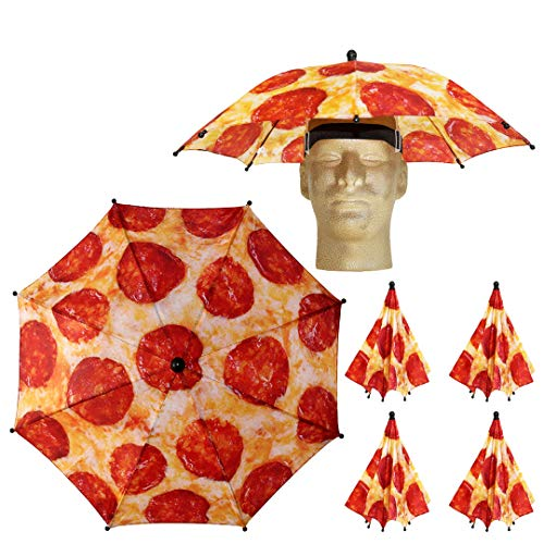 Funbrella Hats - PIZZA Umbrella Hat - The Pie In The Sky - Rain Sun Resistant -Easy Elastic Fit for Adults & Kids - Umbrella Hats for a Costume Party, Festival, Fishing, Hiking and the Beach -