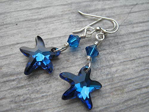 Swarovski Starfish Earrings.925 Sterling Silver, Bermuda Blue Beach Jewelry, Nautical Wire Wrapped Crystal Jewelry
