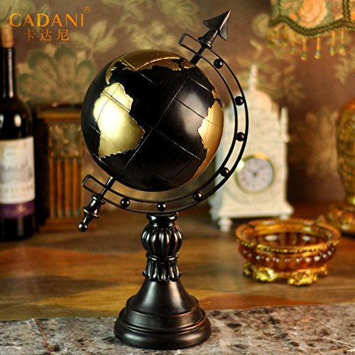 Continental Retro Globe Decoration Living Room Became Home Decoration Decoration Crafts Home Furnishing Earth Resin Retro Black by LiLy-US