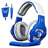 Sades PS4 Xbox One Gaming Headset Over-ear Bass PC Gaming Headphones with Microphone for Mac / PC / Laptop / - Blue/White
