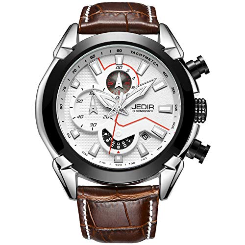 JEDIR Men's Multifunction Watches Analogue Chronograph Wrist Watch Quartz Display Date Calfskin Leather Strap(White/Brown) (Strap Brown Watch Digital)