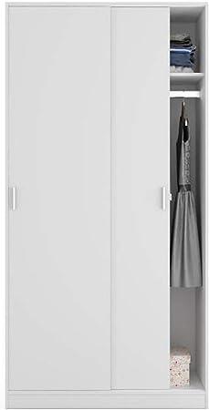 PEGANE Armario con 2 Puertas correderas Negra Blanco – Dim: L 100 cm x H 200 x p 50 cm: Amazon.es: Hogar
