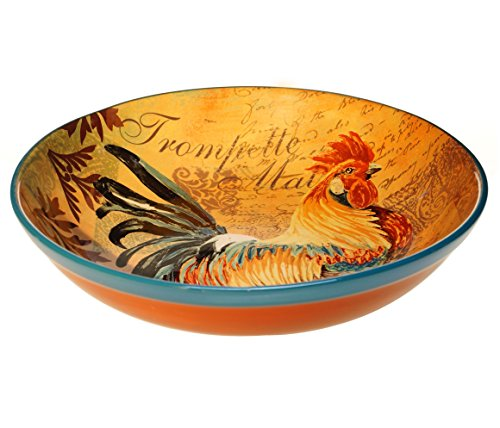 Certified International Rustic Rooster Pasta/Serving Bowl, 12.75 by 3-Inch, Multicolor by Certified International