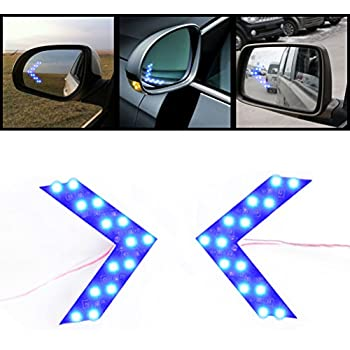 2x Brilliant Blue 14-SMD LED Side Mirror Arrow Panel Indicator Add-on Blinker Turn Signal Light for Auto Car Vehicle Truck SUV