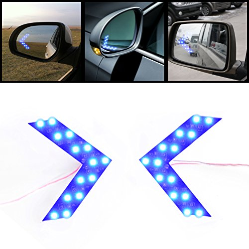 2x Brilliant Blue 14-SMD LED Side Mirror Arrow Panel Indicator Add-on Blinker Turn Signal Light for Auto Car Vehicle Truck ()